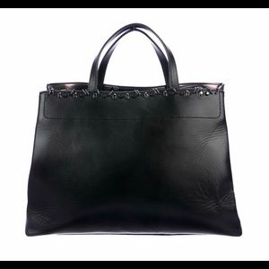 Stuart Weitzman Black Leather Tote With Studs